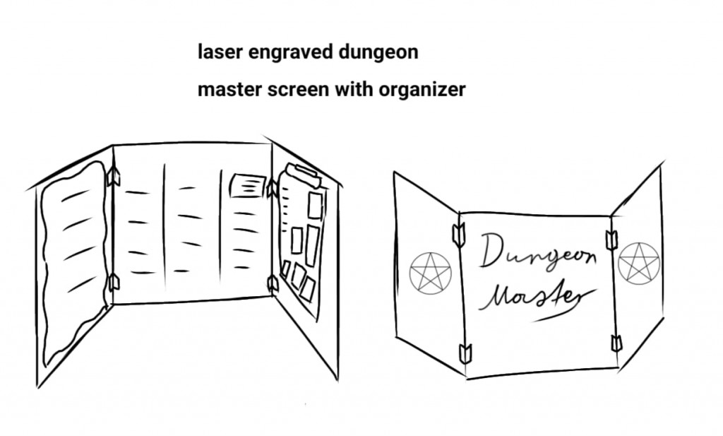 Lasergravierter Dungenmaster Screen für Tabletop Games